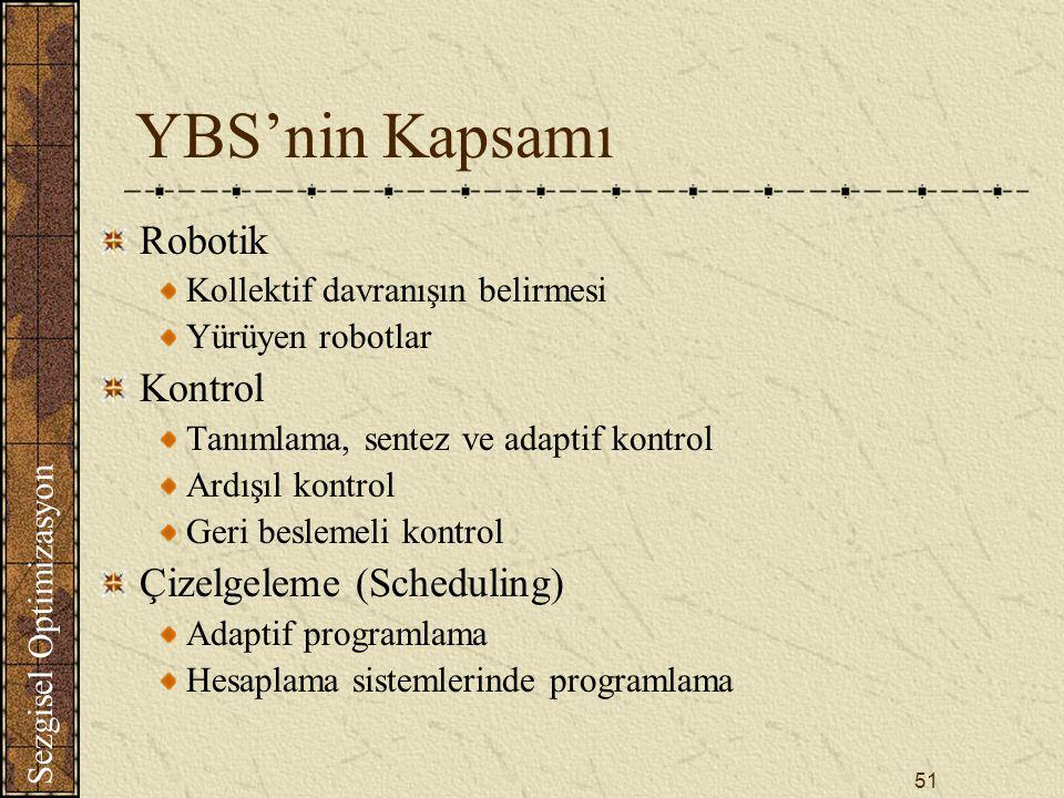 Sezgisel Optimizasyon 51 YBS'nin Kapsamı Robotik Kollektif davranışın belirmesi Yürüyen robotlar Kontrol Tanımlama, sentez ve adaptif kontrol Ardışıl kontrol Geri beslemeli kontrol Çizelgeleme (Scheduling) Adaptif programlama Hesaplama sistemlerinde programlama