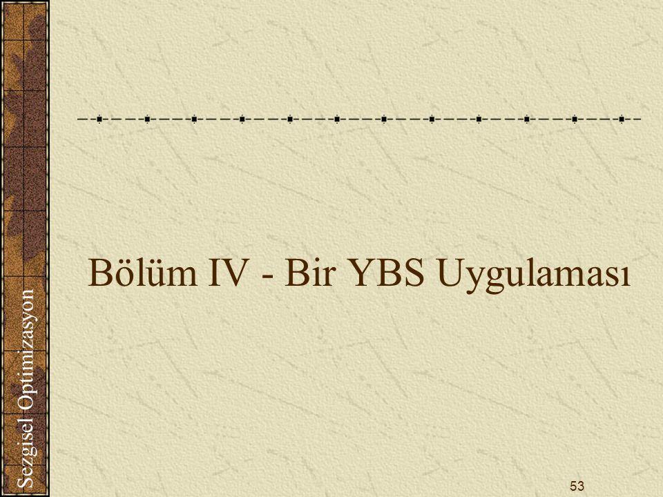Sezgisel Optimizasyon 53 Bölüm IV - Bir YBS Uygulaması
