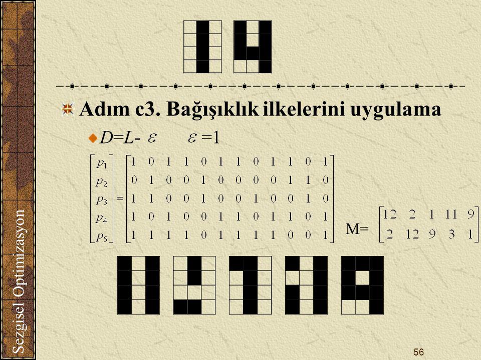 Sezgisel Optimizasyon 56 Adım c3. Bağışıklık ilkelerini uygulama D=L- =1 M=