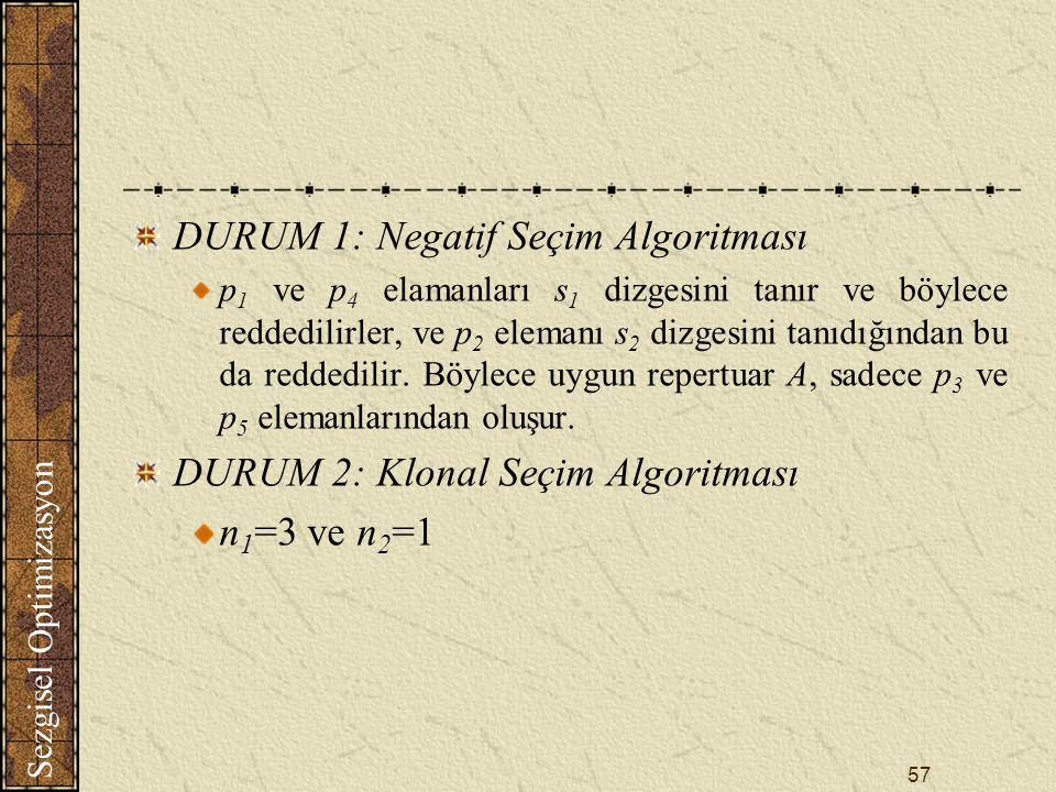 Sezgisel Optimizasyon 57 DURUM 1: Negatif Seçim Algoritması p 1 ve p 4 elamanları s 1 dizgesini tanır ve böylece reddedilirler, ve p 2 elemanı s 2 dizgesini tanıdığından bu da reddedilir.