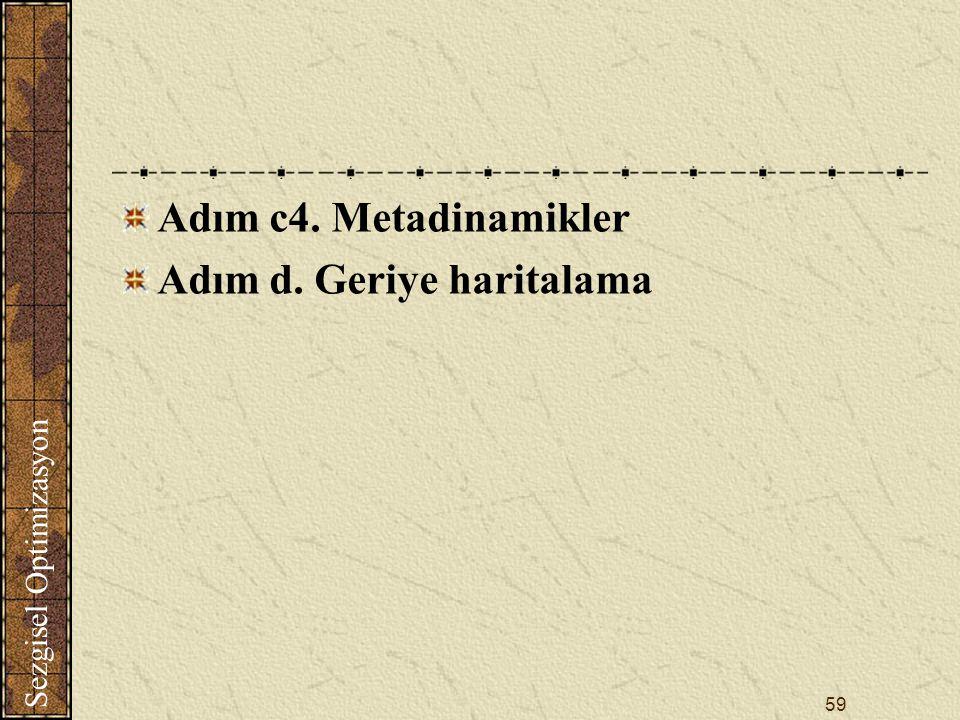 Sezgisel Optimizasyon 59 Adım c4. Metadinamikler Adım d. Geriye haritalama