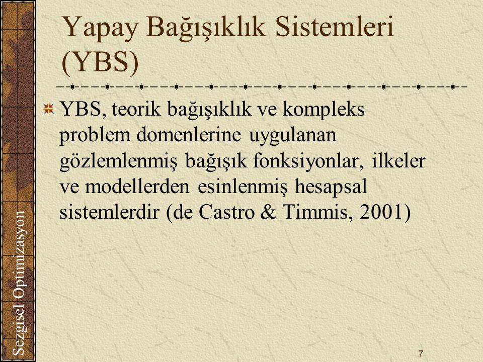 Sezgisel Optimizasyon 7 Yapay Bağışıklık Sistemleri (YBS) YBS, teorik bağışıklık ve kompleks problem domenlerine uygulanan gözlemlenmiş bağışık fonksiyonlar, ilkeler ve modellerden esinlenmiş hesapsal sistemlerdir (de Castro & Timmis, 2001)