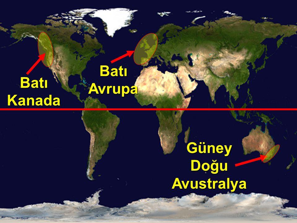 Batı Kanada Güney Doğu Avustralya Batı Avrupa