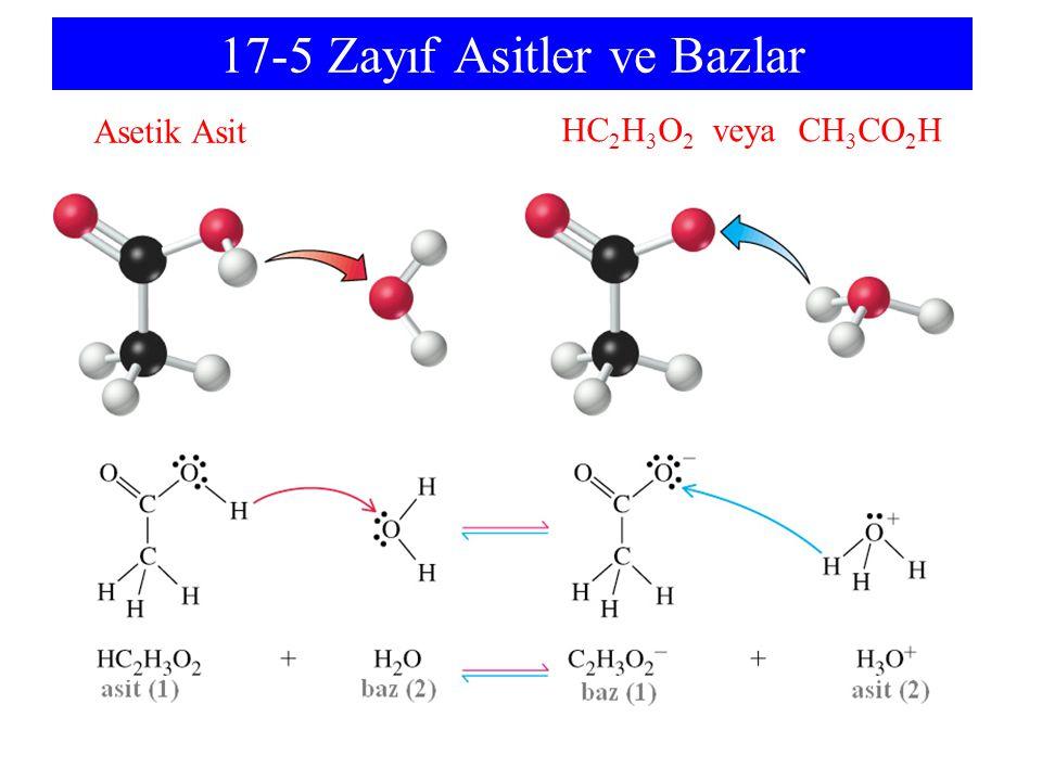 17-5 Zayıf Asitler ve Bazlar Asetik Asit HC 2 H 3 O 2 veya CH 3 CO 2 H