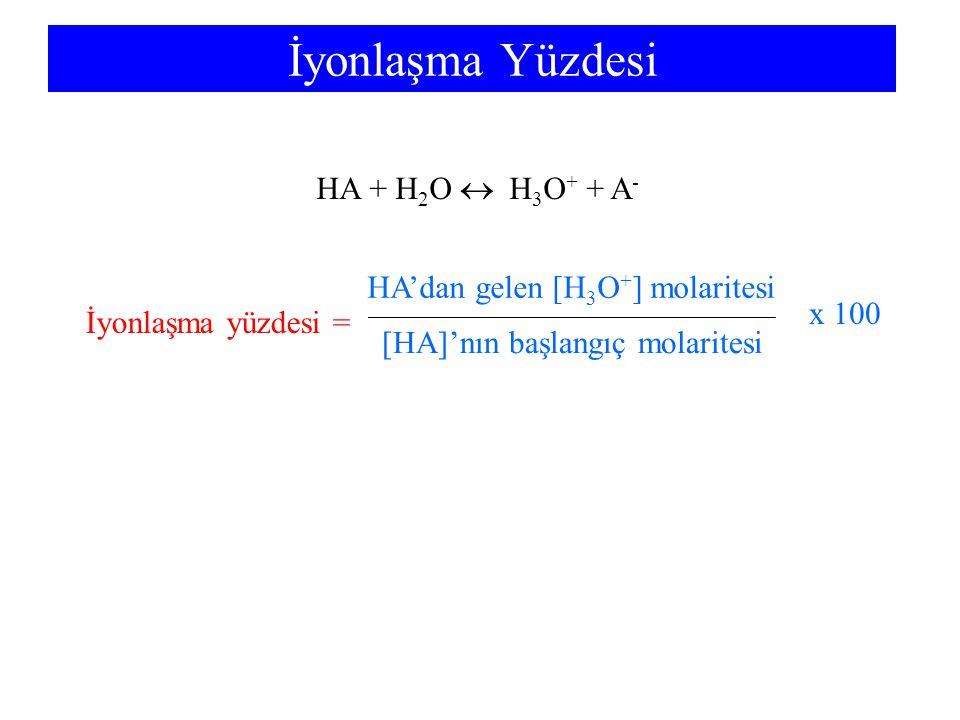 İyonlaşma Yüzdesi HA + H 2 O  H 3 O + + A - İyonlaşma yüzdesi = HA'dan gelen [H 3 O + ] molaritesi [HA]'nın başlangıç molaritesi x 100