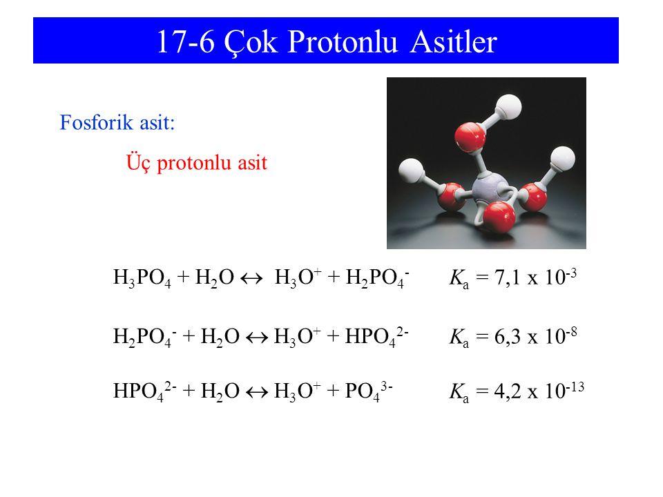 17-6 Çok Protonlu Asitler H 3 PO 4 + H 2 O  H 3 O + + H 2 PO 4 - H 2 PO 4 - + H 2 O  H 3 O + + HPO 4 2- HPO 4 2- + H 2 O  H 3 O + + PO 4 3- Fosforik asit: Üç protonlu asit K a = 7,1 x 10 -3 K a = 6,3 x 10 -8 K a = 4,2 x 10 -13