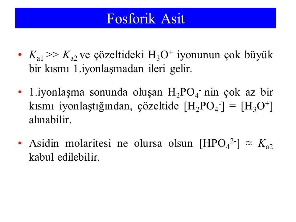 Fosforik Asit K a1 >> K a2 ve çözeltideki H 3 O + iyonunun çok büyük bir kısmı 1.iyonlaşmadan ileri gelir. 1.iyonlaşma sonunda oluşan H 2 PO 4 - nin ç