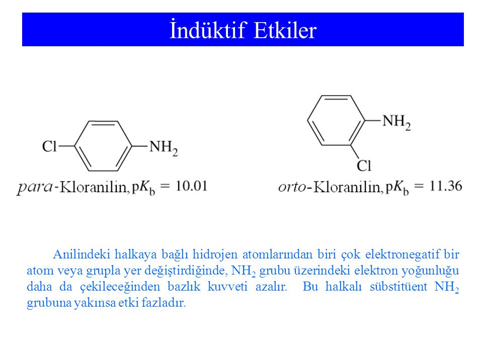 İndüktif Etkiler Anilindeki halkaya bağlı hidrojen atomlarından biri çok elektronegatif bir atom veya grupla yer değiştirdiğinde, NH 2 grubu üzerindeki elektron yoğunluğu daha da çekileceğinden bazlık kuvveti azalır.
