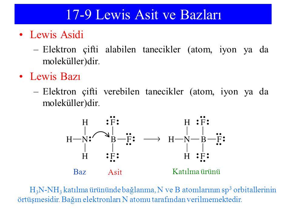 17-9 Lewis Asit ve Bazları Lewis Asidi –Elektron çifti alabilen tanecikler (atom, iyon ya da moleküller)dir. Lewis Bazı –Elektron çifti verebilen tane