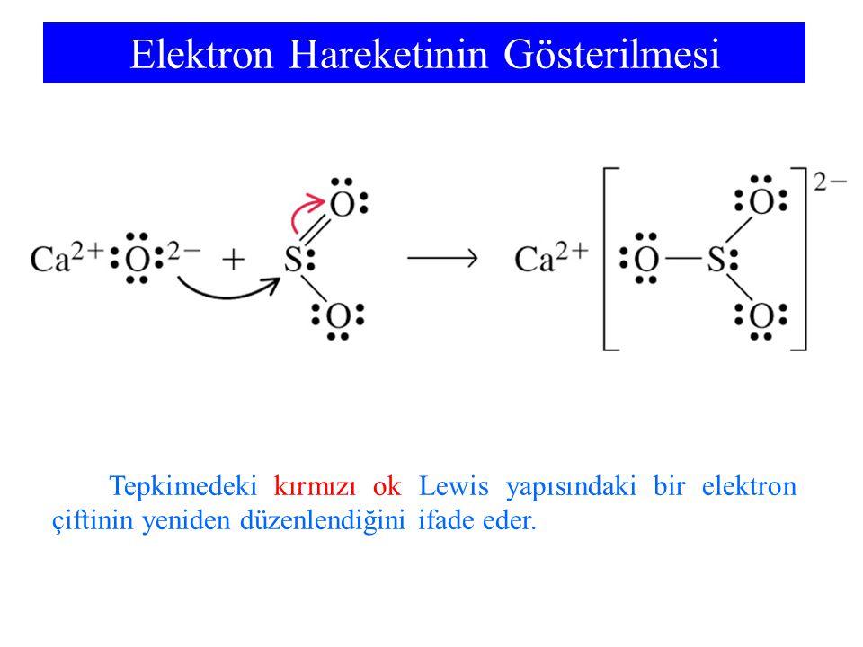 Elektron Hareketinin Gösterilmesi Tepkimedeki kırmızı ok Lewis yapısındaki bir elektron çiftinin yeniden düzenlendiğini ifade eder.