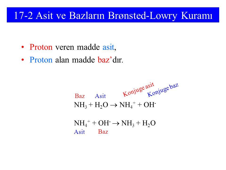 17-2 Asit ve Bazların Brønsted-Lowry Kuramı Proton veren madde asit, Proton alan madde baz'dır. NH 3 + H 2 O  NH 4 + + OH - NH 4 + + OH -  NH 3 + H