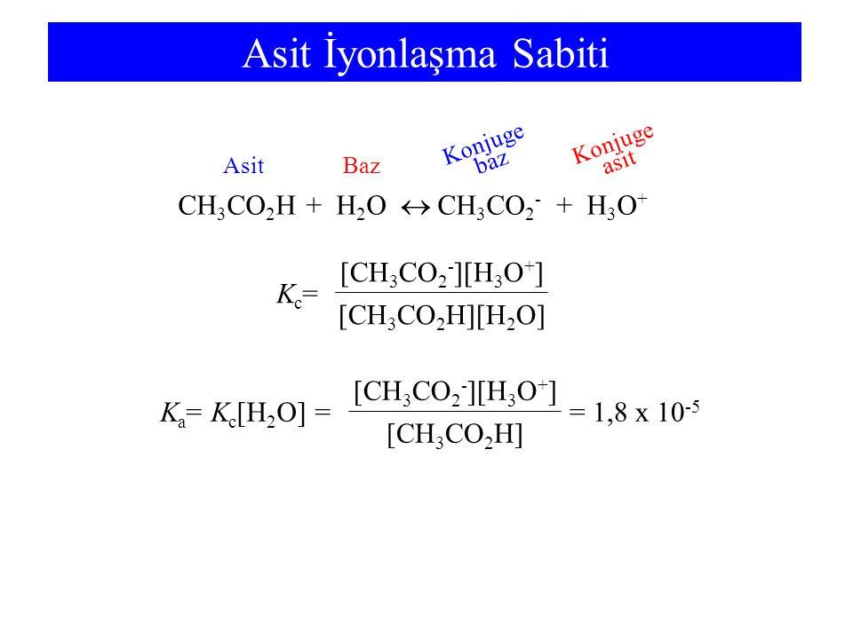 Asit İyonlaşma Sabiti CH 3 CO 2 H + H 2 O  CH 3 CO 2 - + H 3 O + Kc=Kc= [CH 3 CO 2 H][H 2 O] [CH 3 CO 2 - ][H 3 O + ] K a = K c [H 2 O] == 1,8 x 10 -5 [CH 3 CO 2 H] [CH 3 CO 2 - ][H 3 O + ] BazBazAsit Konjuge asit Konjuge baz