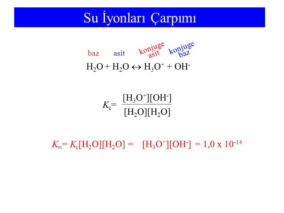 Su İyonları Çarpımı Kc=Kc= [H 2 O][H 2 O] [H 3 O + ][OH - ] H 2 O + H 2 O  H 3 O + + OH - bazasit konjuge asit konjuge baz K su = K c [H 2 O][H 2 O] == 1,0 x 10 -14 [H 3 O + ][OH - ]