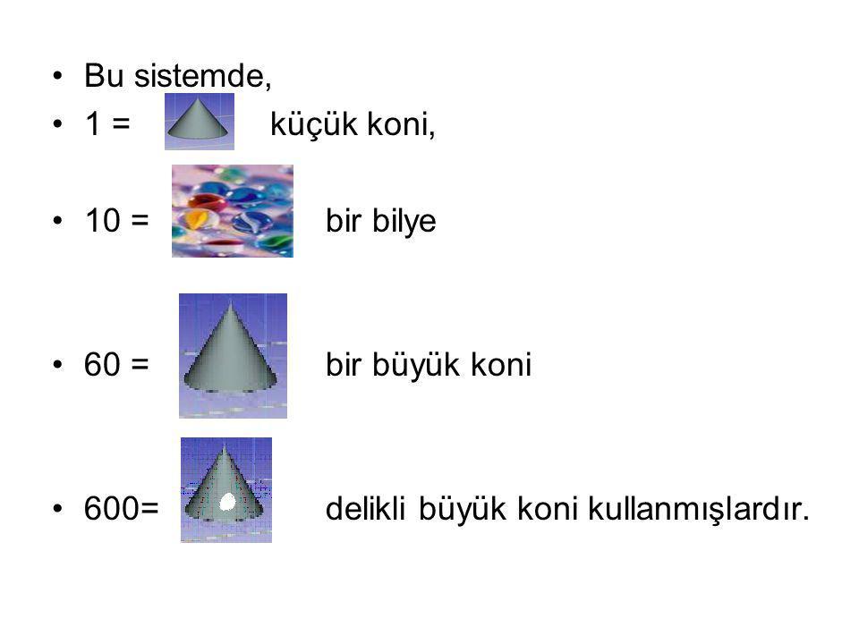 Bu sistemde, 1 = küçük koni, 10 = bir bilye 60 = bir büyük koni 600= delikli büyük koni kullanmışlardır.
