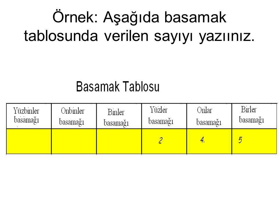 Örnek: Aşağıda basamak tablosunda verilen sayıyı yazıınız.