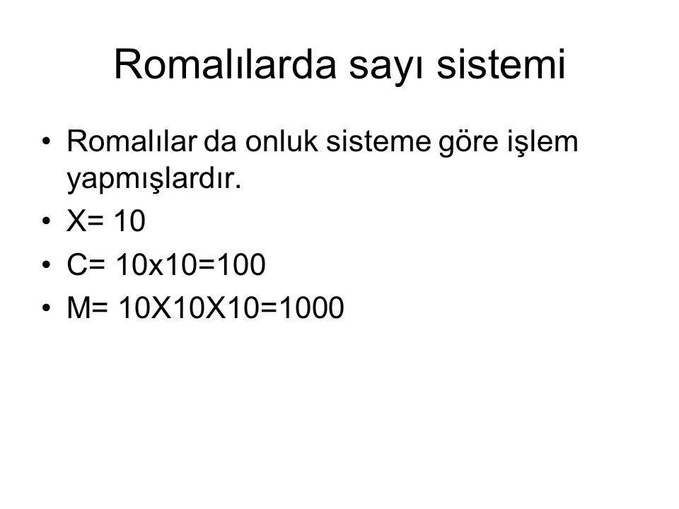 Romalılarda sayı sistemi Romalılar da onluk sisteme göre işlem yapmışlardır.