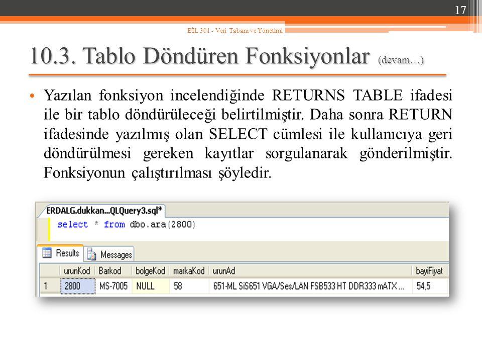 10.3. Tablo Döndüren Fonksiyonlar (devam…) Yazılan fonksiyon incelendiğinde RETURNS TABLE ifadesi ile bir tablo döndürüleceği belirtilmiştir. Daha son