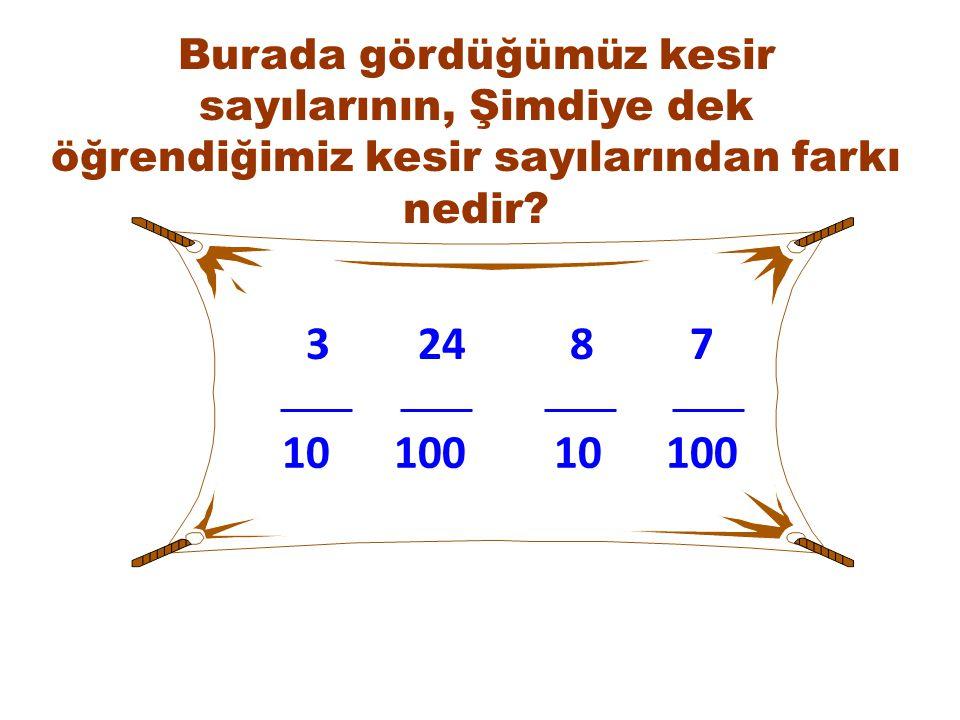 24 10 387 10010100 Burada gördüğümüz kesir sayılarının, Şimdiye dek öğrendiğimiz kesir sayılarından farkı nedir?