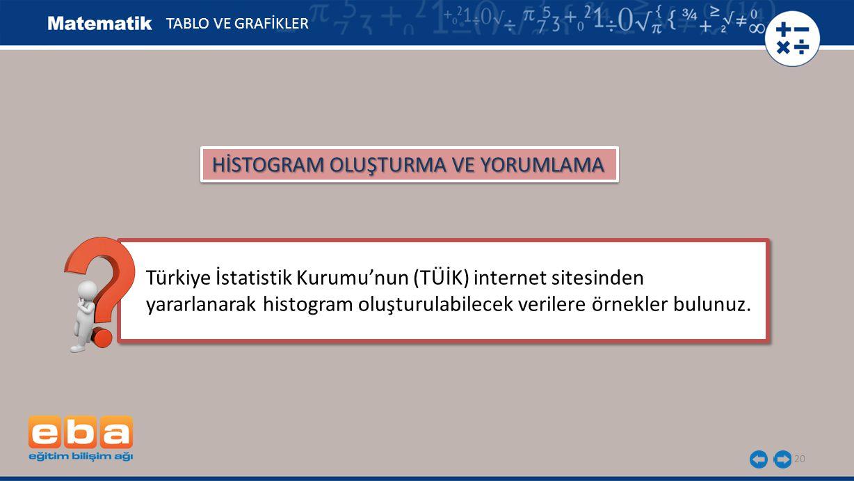 20 TABLO VE GRAFİKLER HİSTOGRAM OLUŞTURMA VE YORUMLAMA Türkiye İstatistik Kurumu'nun (TÜİK) internet sitesinden yararlanarak histogram oluşturulabilec
