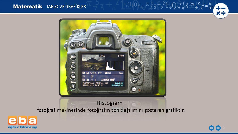3 Histogram, fotoğraf makinesinde fotoğrafın ton dağılımını gösteren grafiktir.