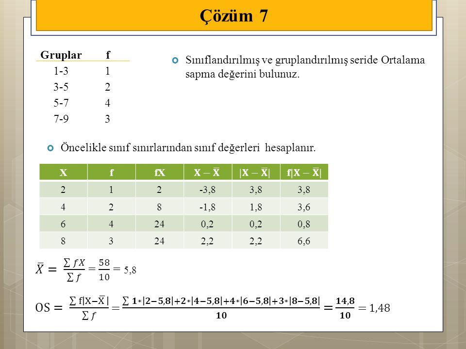  Sınıflandırılmış ve gruplandırılmış seride Ortalama sapma değerini bulunuz. Çözüm 7 Gruplarf 1-31 3-52 5-74 7-93  Öncelikle sınıf sınırlarından sın