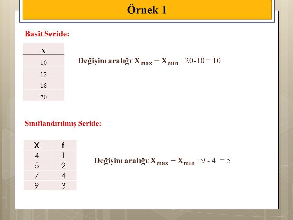 Örnek 1 X 10 12 18 20 Xf 41 52 74 93 Basit Seride: Sınıflandırılmış Seride: