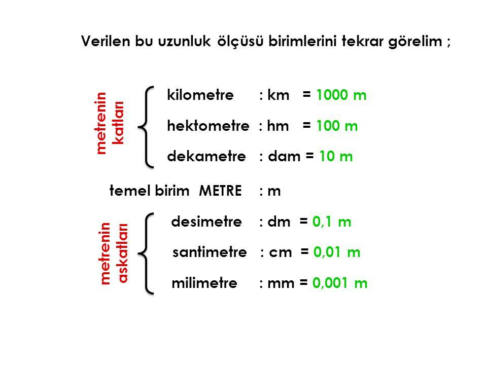 Verilen bu uzunluk ölçüsü birimlerini tekrar görelim ; temel birim METRE : m m e t r e n i n a s k a t l a r ı m e t r e n i n k a t l a r ı desimetre