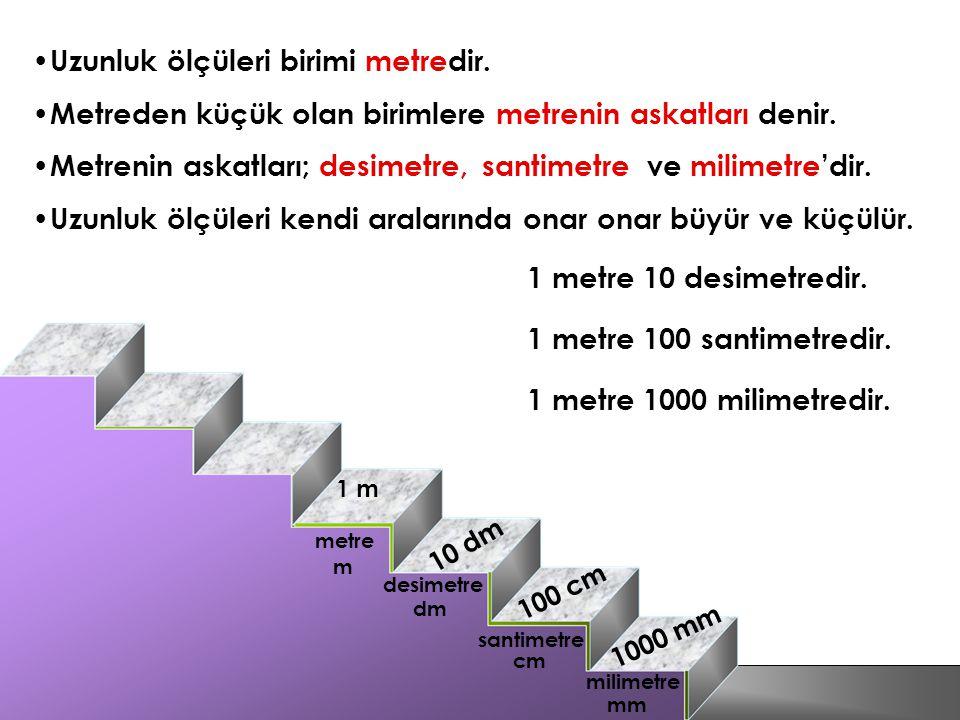 Uzunluk ölçüleri birimi metredir. metre Metreden küçük olan birimlere metrenin askatları denir. desimetre santimetre milimetre Metrenin askatları; des