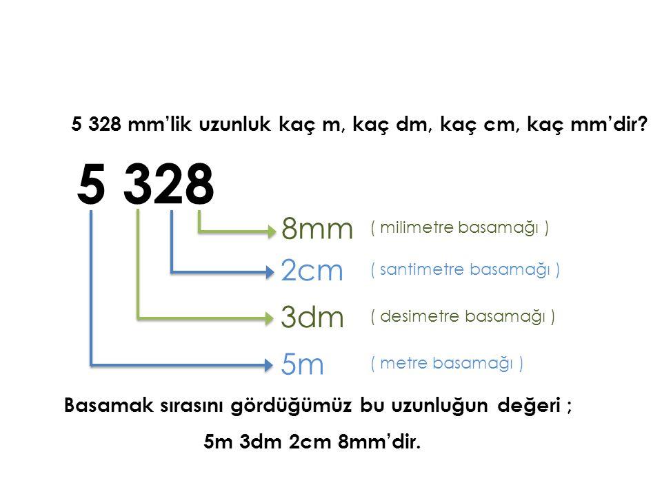 5 328 mm'lik uzunluk kaç m, kaç dm, kaç cm, kaç mm'dir? Basamak sırasını gördüğümüz bu uzunluğun değeri ; 5 328 8mm ( milimetre basamağı ) 2cm ( santi