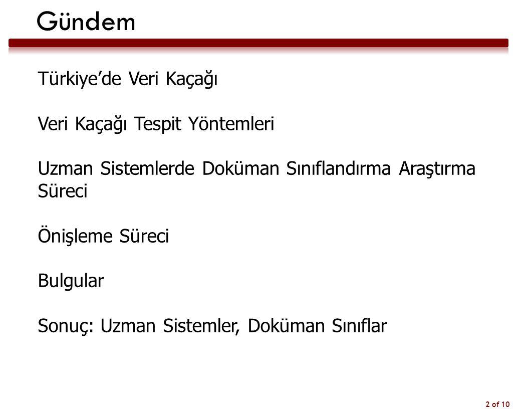 2 of 10 Gündem Türkiye'de Veri Kaçağı Veri Kaçağı Tespit Yöntemleri Uzman Sistemlerde Doküman Sınıflandırma Araştırma Süreci Önişleme Süreci Bulgular Sonuç: Uzman Sistemler, Doküman Sınıflar