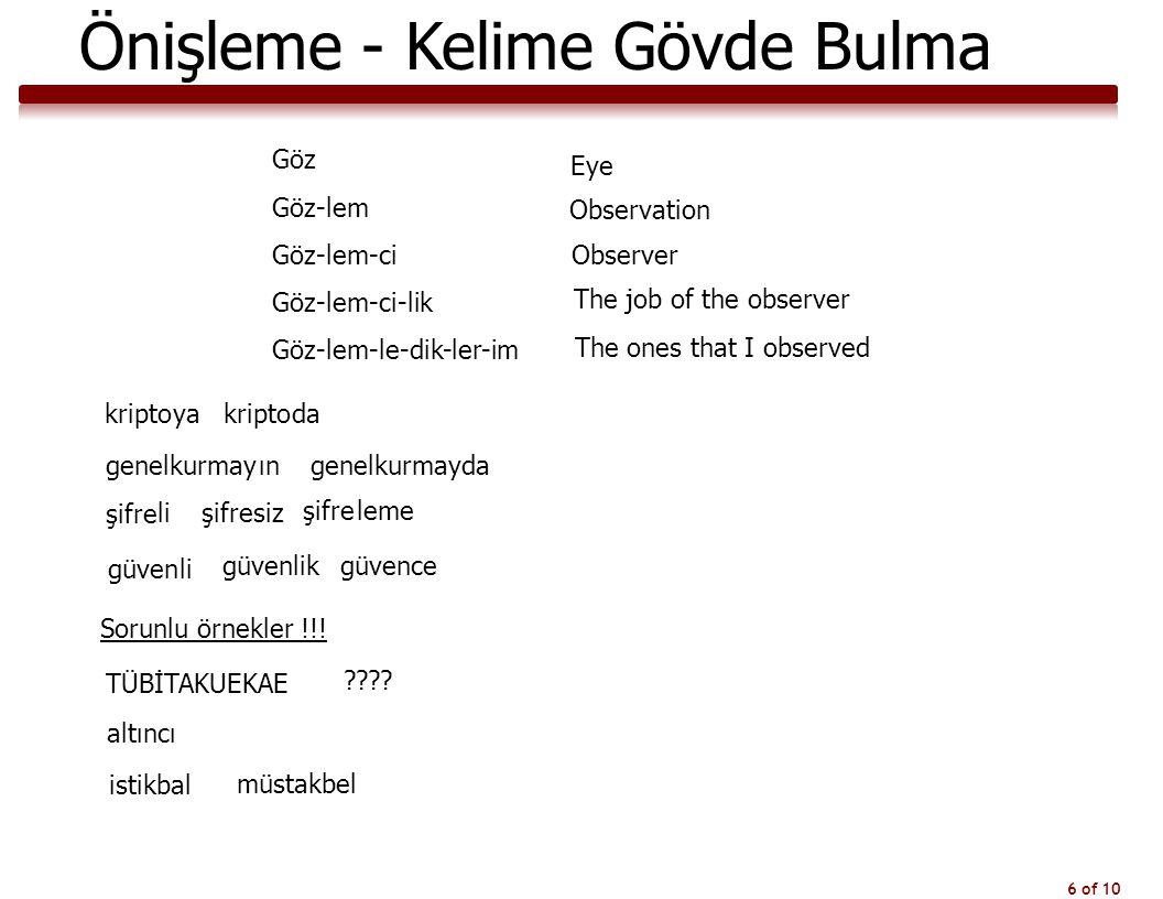 6 of 10 Önişleme - Kelime Gövde Bulma Göz Göz-lem Göz-lem-ci Göz-lem-ci-lik Göz-lem-le-dik-ler-im Eye Observation Observer The job of the observer The
