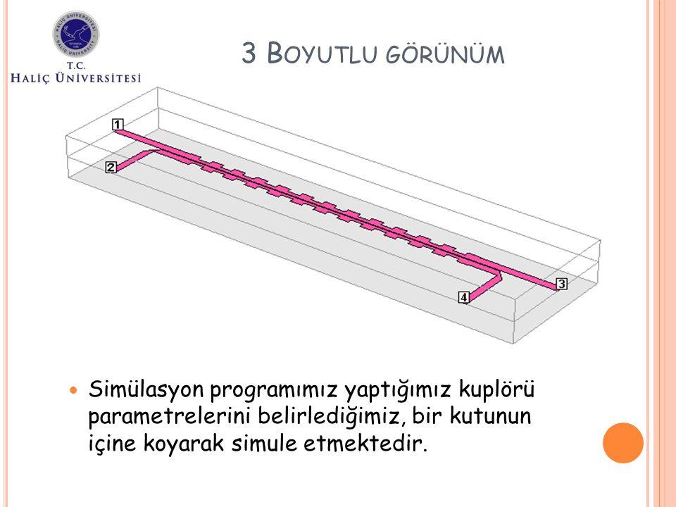 Simülasyon programımız yaptığımız kuplörü parametrelerini belirlediğimiz, bir kutunun içine koyarak simule etmektedir. 3 B OYUTLU GÖRÜNÜM