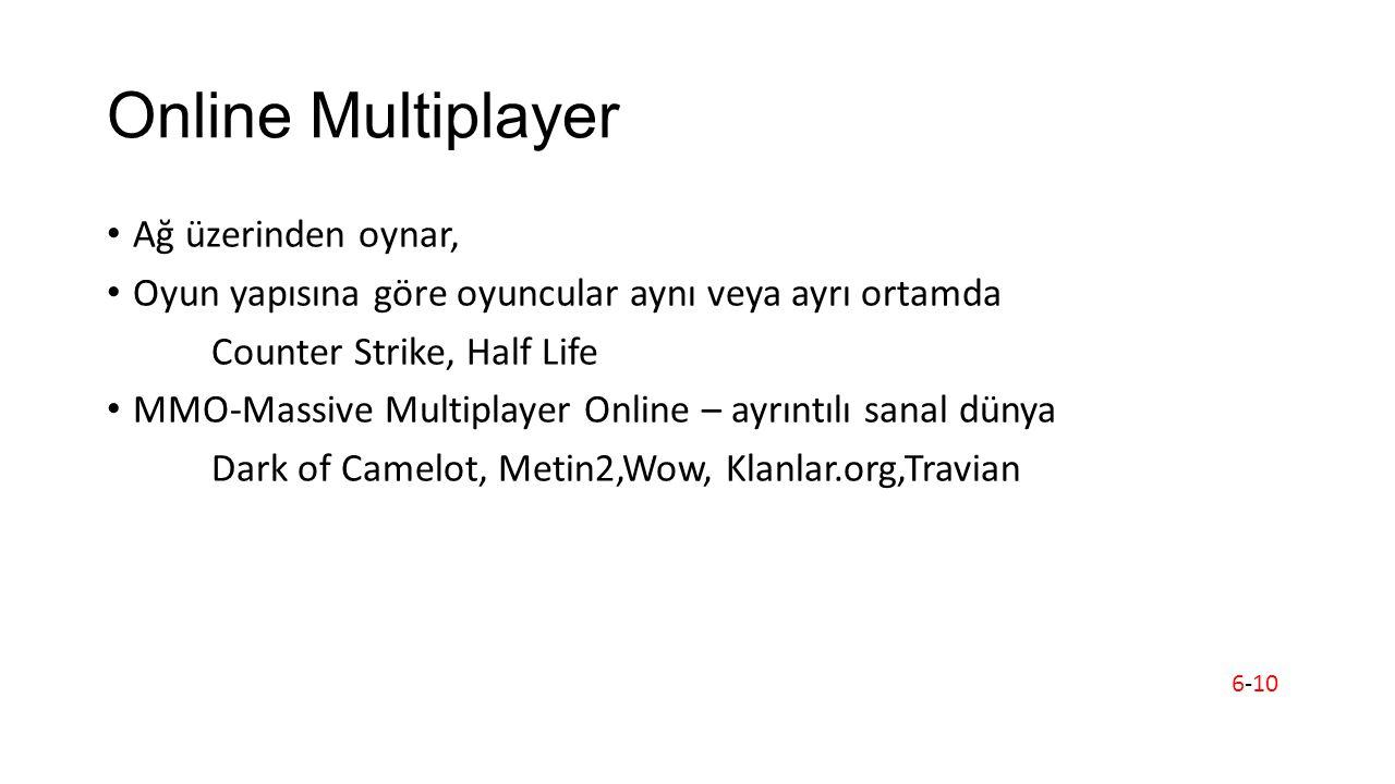 Online Multiplayer Ağ üzerinden oynar, Oyun yapısına göre oyuncular aynı veya ayrı ortamda Counter Strike, Half Life MMO-Massive Multiplayer Online – ayrıntılı sanal dünya Dark of Camelot, Metin2,Wow, Klanlar.org,Travian 6-10