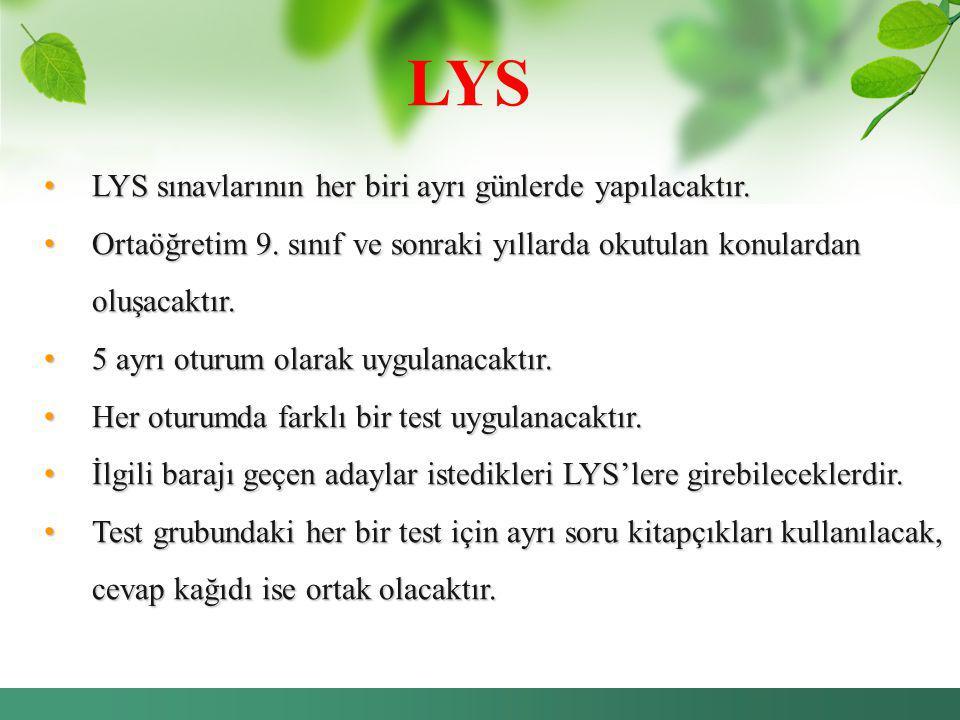 LYS LYS sınavlarının her biri ayrı günlerde yapılacaktır. LYS sınavlarının her biri ayrı günlerde yapılacaktır. Ortaöğretim 9. sınıf ve sonraki yıllar
