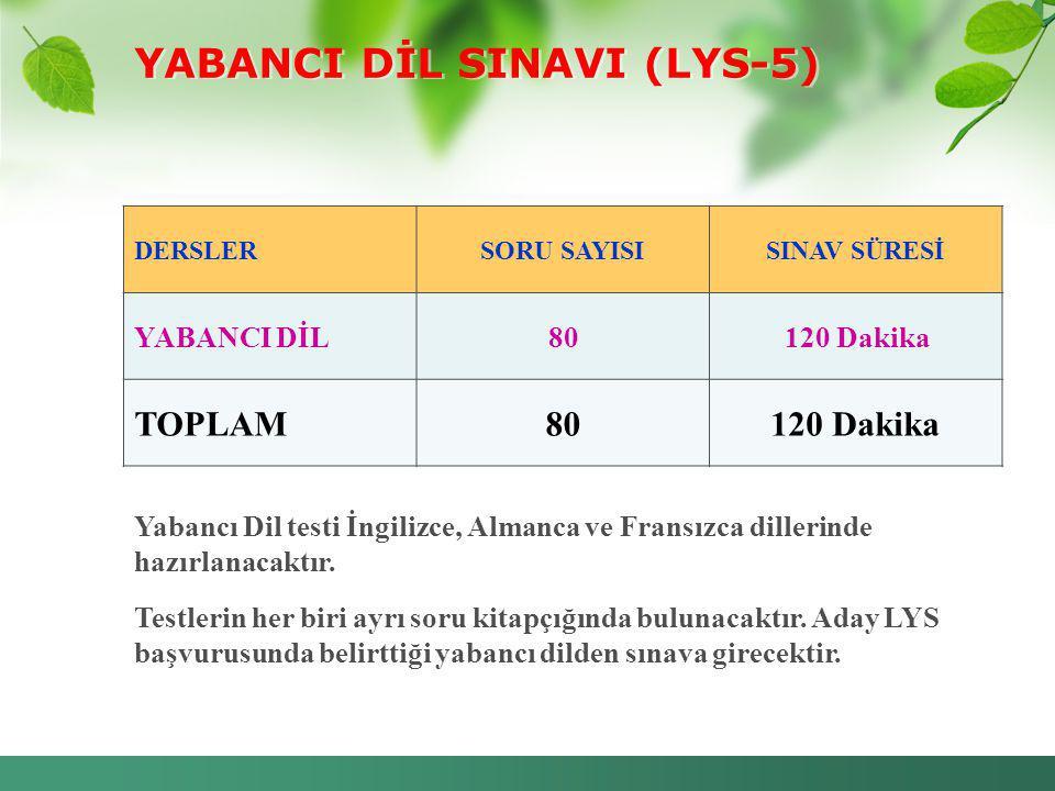 YABANCI DİL SINAVI (LYS-5) DERSLERSORU SAYISISINAV SÜRESİ YABANCI DİL80120 Dakika TOPLAM80120 Dakika Yabancı Dil testi İngilizce, Almanca ve Fransızca