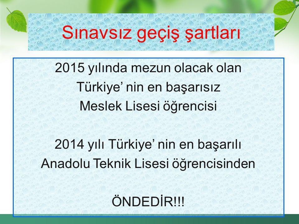 2015 yılında mezun olacak olan Türkiye' nin en başarısız Meslek Lisesi öğrencisi 2014 yılı Türkiye' nin en başarılı Anadolu Teknik Lisesi öğrencisinde