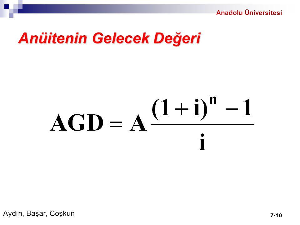 Anüitenin Gelecek Değeri 7-10 Aydın, Başar, Coşkun Anadolu Üniversitesi