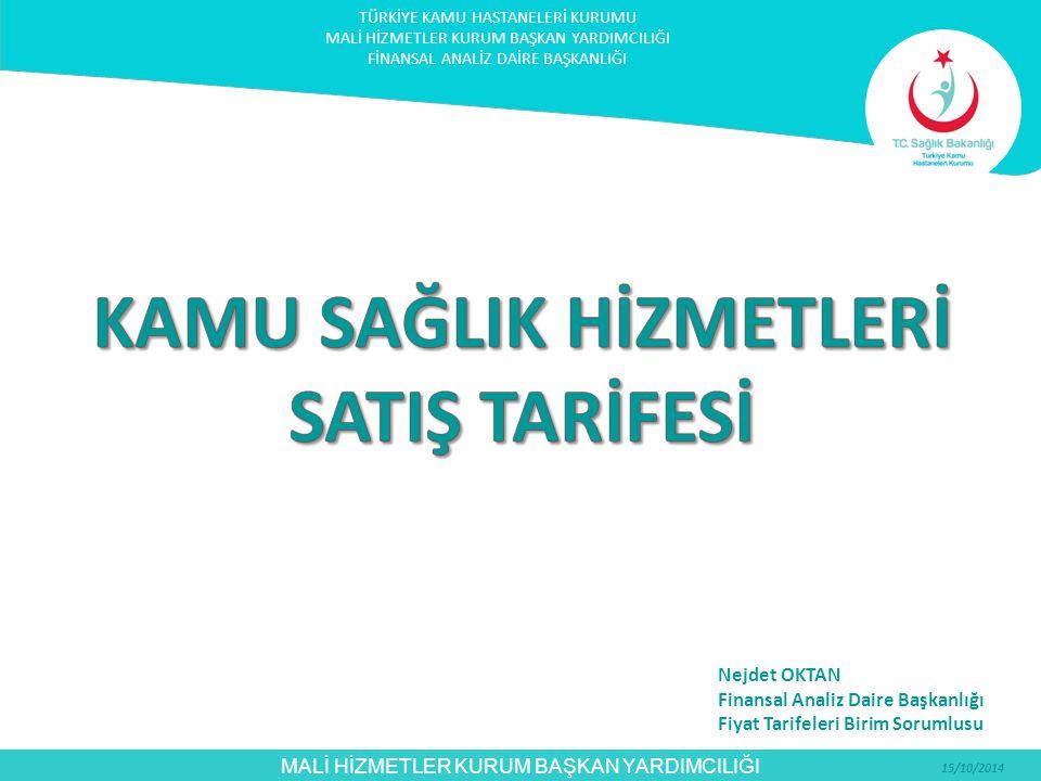 MALİ HİZMETLER KURUM BAŞKAN YARDIMCILIĞI 15/10/2014 Fiyatlandırma (4): Kamu Sağlık Hizmetleri Satış Tarifesi kapsamındaki kişilere, Afiliye Hastanelerde sunulan hizmetlerin fiyatlandırılması: Protokol öncesi rolü A1 ve A1-DAL ise Sağlık Bakanlığı Fiyatı ile Üniversite Tavan Fiyatı arasında belirlenecek tutar üzerinden faturalandırılacaktır.