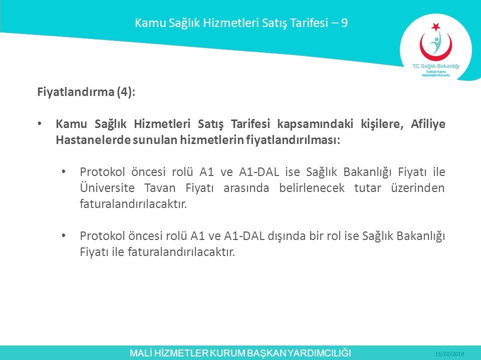 MALİ HİZMETLER KURUM BAŞKAN YARDIMCILIĞI 15/10/2014 Fiyatlandırma (4): Kamu Sağlık Hizmetleri Satış Tarifesi kapsamındaki kişilere, Afiliye Hastaneler
