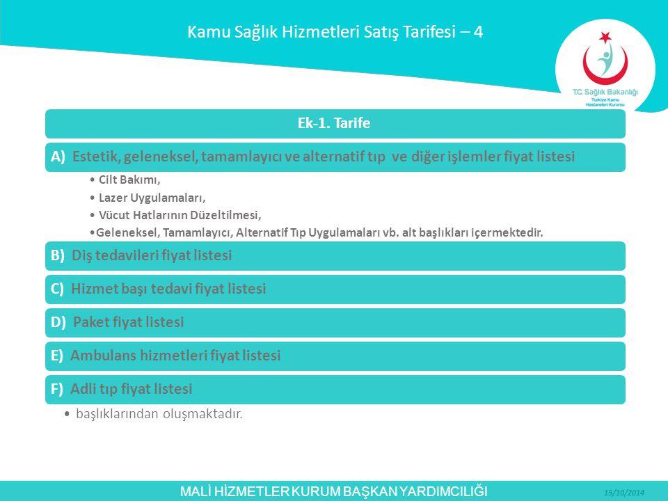 MALİ HİZMETLER KURUM BAŞKAN YARDIMCILIĞI 15/10/2014 Ek-1. TarifeA) Estetik, geleneksel, tamamlayıcı ve alternatif tıp ve diğer işlemler fiyat listesi