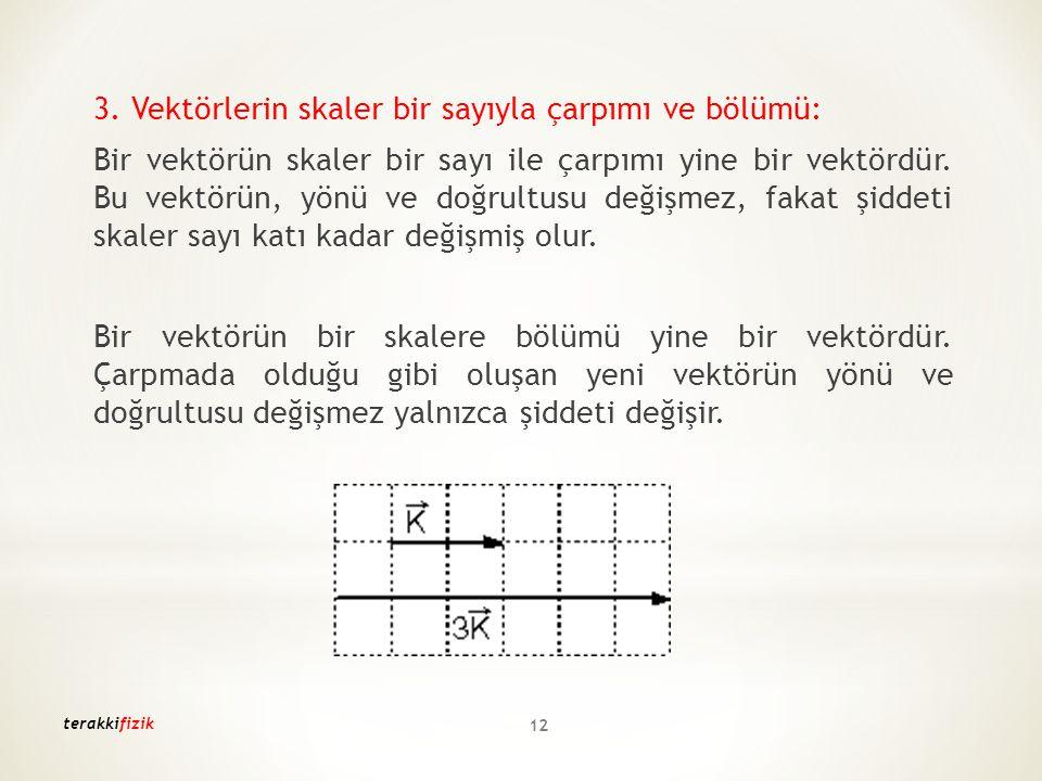 terakkifizik 12 3. Vektörlerin skaler bir sayıyla çarpımı ve bölümü: Bir vektörün skaler bir sayı ile çarpımı yine bir vektördür. Bu vektörün, yönü ve