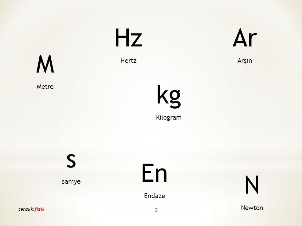 M Metre kg Kilogram s saniye N Newton Hz Hertz Ar Arşın En Endaze terakkifizik 2