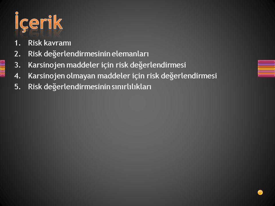 1.Risk kavramı 2.Risk değerlendirmesinin elemanları 3.Karsinojen maddeler için risk değerlendirmesi 4.Karsinojen olmayan maddeler için risk değerlendi