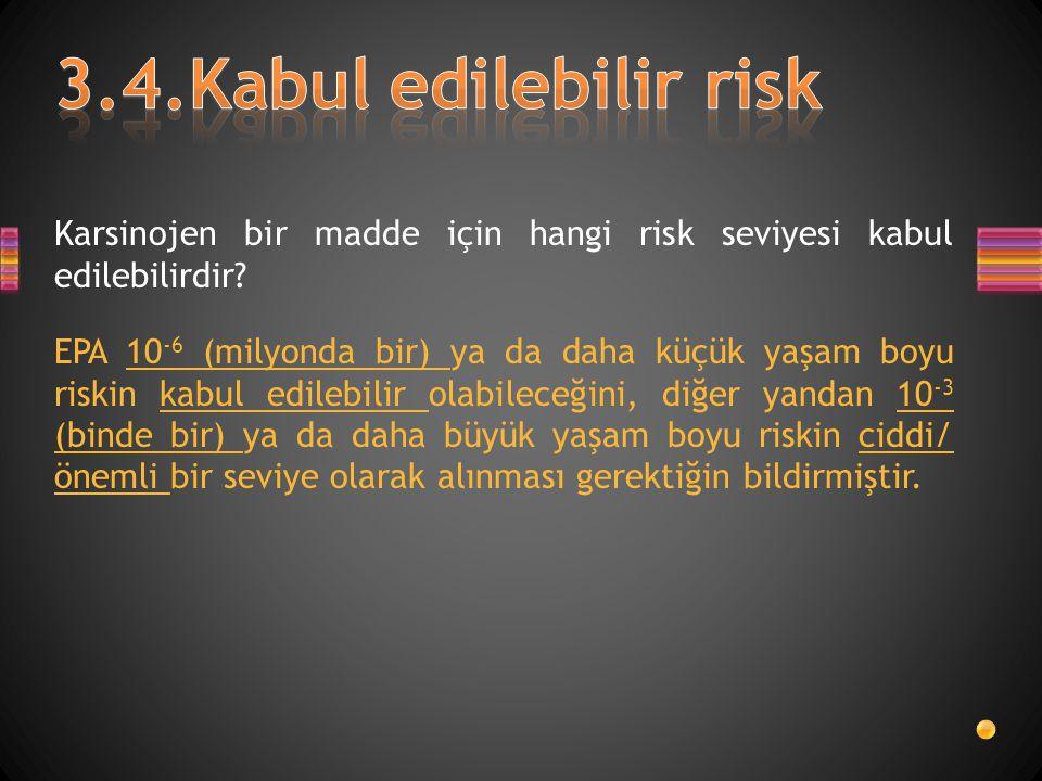 Karsinojen bir madde için hangi risk seviyesi kabul edilebilirdir? EPA 10 -6 (milyonda bir) ya da daha küçük yaşam boyu riskin kabul edilebilir olabil
