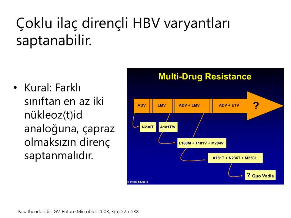 Çoklu ilaç dirençli HBV varyantları saptanabilir. Kural: Farklı sınıftan en az iki nükleoz(t)id analoğuna, çapraz olmaksızın direnç saptanmalıdır. Pap