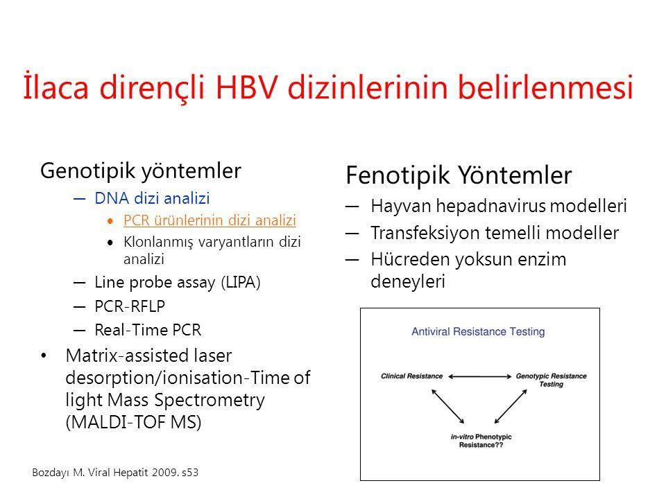 İlaca dirençli HBV dizinlerinin belirlenmesi Genotipik yöntemler ─ DNA dizi analizi  PCR ürünlerinin dizi analizi  Klonlanmış varyantların dizi anal
