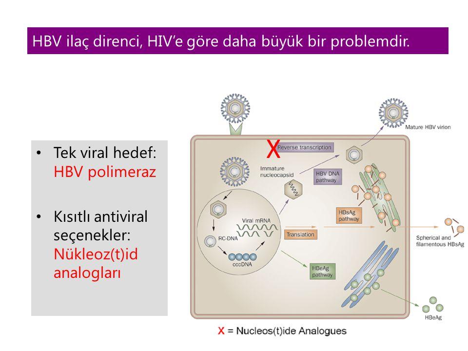 Tek viral hedef: HBV polimeraz Kısıtlı antiviral seçenekler: Nükleoz(t)id analogları HBV ilaç direnci, HIV'e göre daha büyük bir problemdir. X