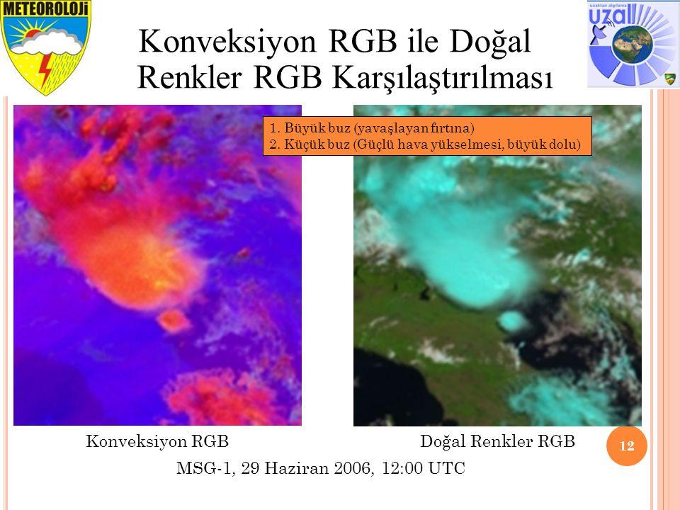 12 Konveksiyon RGB ile Doğal Renkler RGB Karşılaştırılması 1. Büyük buz (yavaşlayan fırtına) 2. Küçük buz (Güçlü hava yükselmesi, büyük dolu) MSG-1, 2