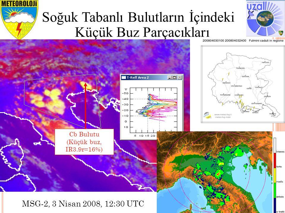 23 Soğuk Tabanlı Bulutların İçindeki Küçük Buz Parçacıkları MSG-2, 3 Nisan 2008, 12:30 UTC Cb Bulutu (Küçük buz, IR3.9r=16%)