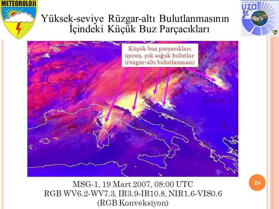 25 Yüksek-seviye Rüzgar-altı Bulutlanmasının İçindeki Küçük Buz Parçacıkları MSG-1, 19 Mart 2007, 08:00 UTC RGB WV6.2-WV7.3, IR3.9-IR10.8, NIR1.6-VIS0